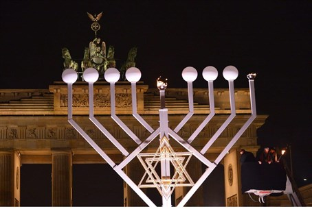 Largest menorah in Europe lit at Berlin's Vic