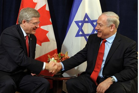 Canadian PM Stephen Harper with Israeli PM Bi
