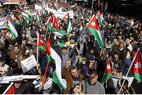 Jordanians protests demonsrate against Kerry'
