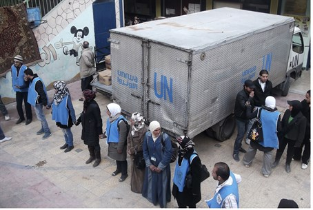 UNRWA workers at the Yarmouk camp
