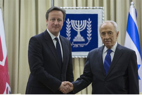David Cameron with Shimon Peres