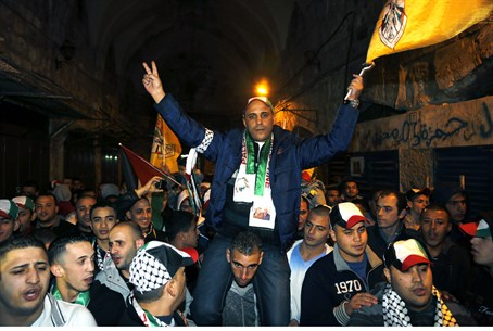 Freed terrorist Ahmed Khalaf in Jerusalem's O