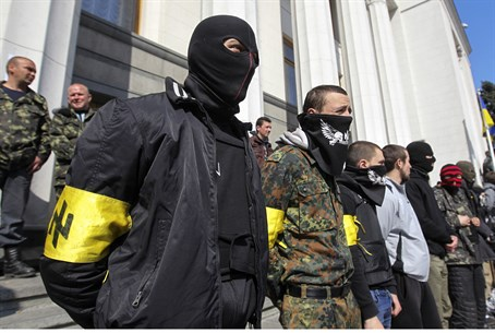 Far-right Right Sector activists outside Ukra