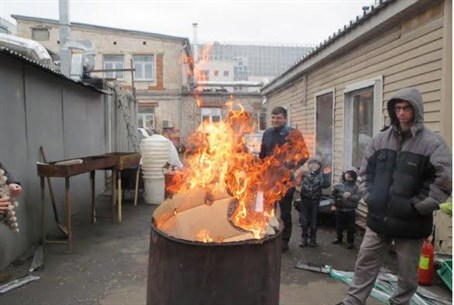 Chametz burning in Moscow