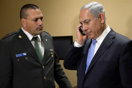 Binyamin Netanyahu on the phone