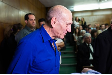 Ehud Olmert, in court before sentencing