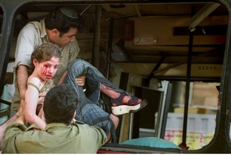 Victim of bus bomb, Jerusalem, 2003.