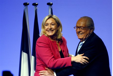 Le Pen with his daughter and current FN leade