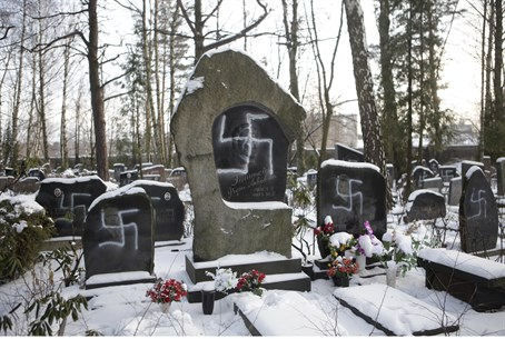 Swastikas on Jewish cemetery (illustration)