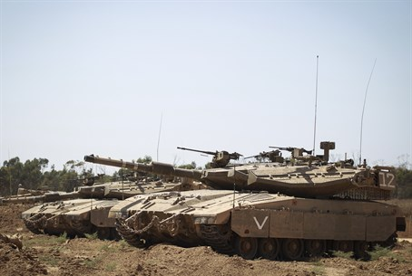 IDF Merkava Mark IV tanks outside Gaza