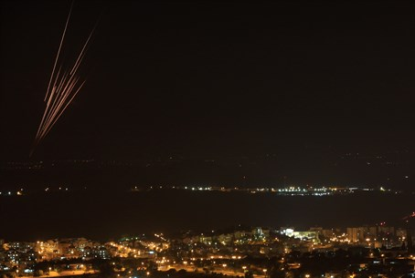 Rockets from Gaza seen over central Israel