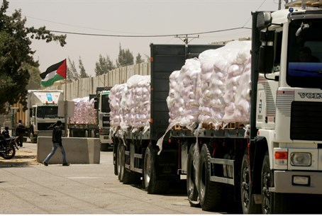 Aid trucks enter Gaza via Kerem Shalom Crossi