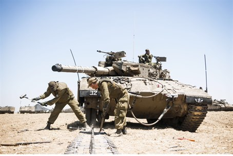 Tanks prepare for a ground assau