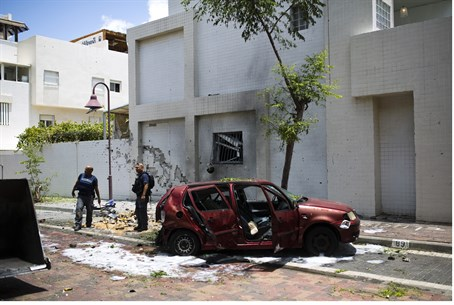 Scene of a rocket strike in Ashdod