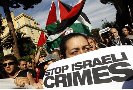 Pro-Palestinian demonstrators shout anti-Isra