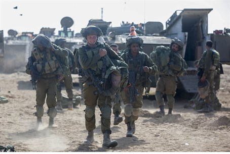 Soldiers deploy near Gaza