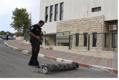 Rocket shrapnel in Etzion Bloc