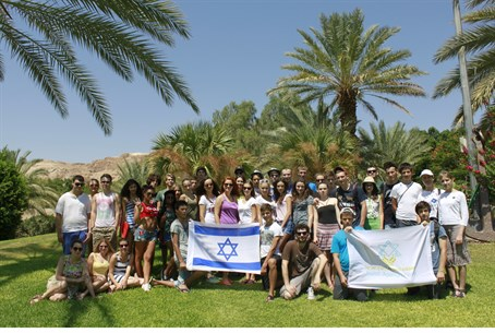 Ukrainian Jewish teens cool off in Israeli su