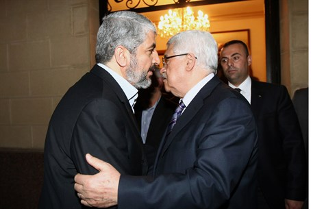 Khaled Mashaal and Mahmoud Abbas