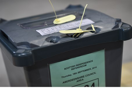 Ballot box in Scotland referendum