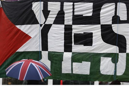 Pro-Palestinian demonstrators call for Britis