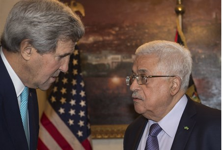 John Kerry in Mahmoud Abbas's Jordan home