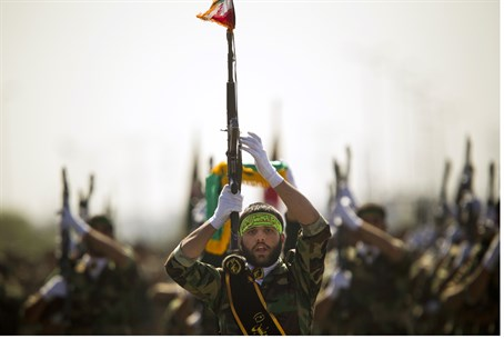 Members of Iran's Basij paramilitary force ma