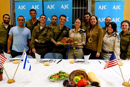 IDF lone soldiers' Thanksgiving meal