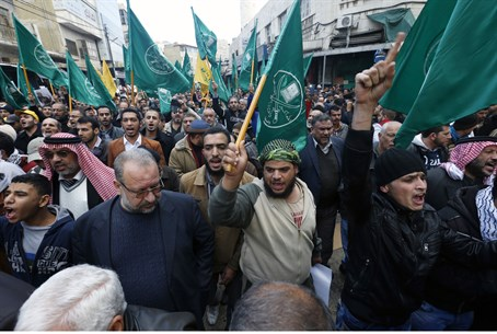 Islamist protesters shout anti-Israel slogans during demonstration in Amman