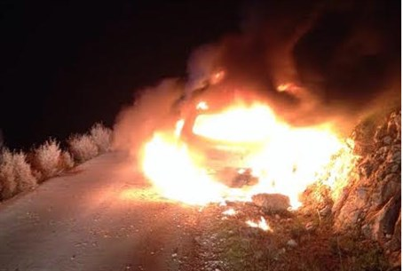 The firebombed car near Maale Shomron