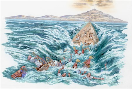 Red Sea covering Egyptian army's chariots and horsemen (illustration)
