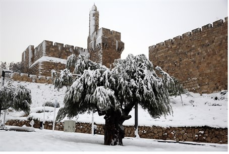 Tower of David in Jerusalem snowstorm