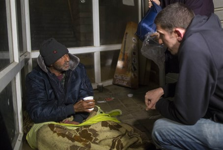 Homeless man offered help ahead of storm (file)