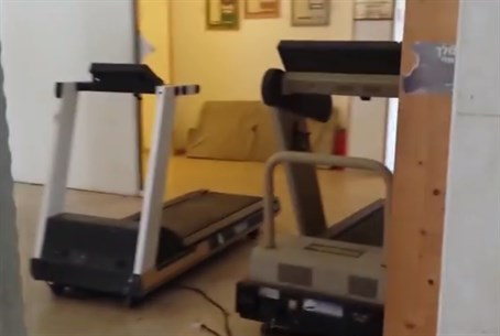 Exercise equipment placed in the yeshiva