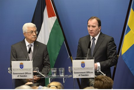 Sweden's Prime Minister Stefan Loefven and PA chairman Mahmoud Abbas in Stockholm