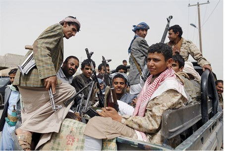 Houthi rebels outside Sanaa Airport, Yemen
