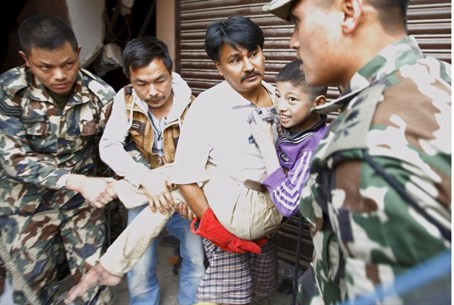 Boy rescued in Nepal.