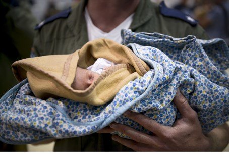 One of the evacuated babies arrives home in Israel