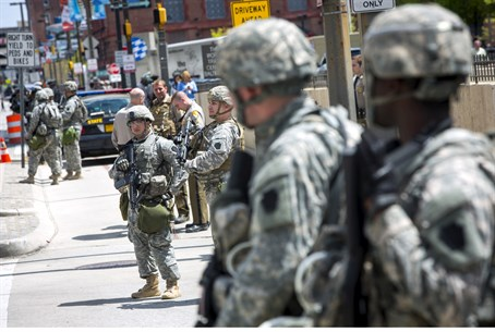 US National Guard soldiers in Baltimore