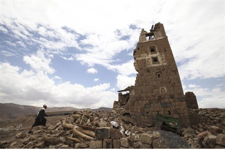 Home destroyed in Saudi bombing, Sanaa.