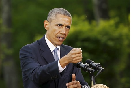 Obama speaks at news conference in Camp David