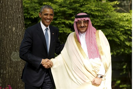 Obama greets Saudi Crown Prince Mohammed bin Nayef