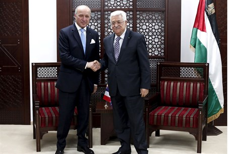 French Foreign Minister Laurent Fabius and PA chairman Mahmoud Abbas