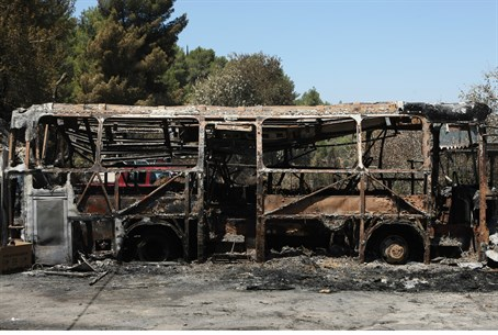 Bus burned by fire (illustration)