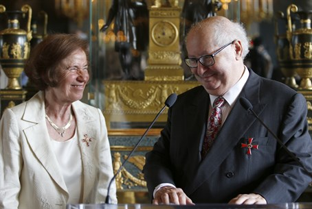 Serge and Beate Klarsfeld wearing Order of Merit medal