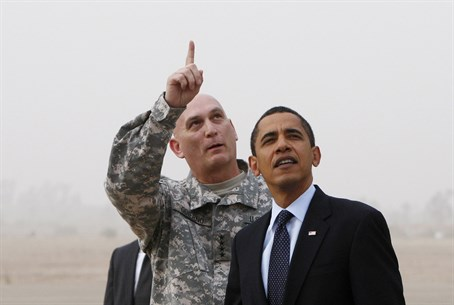 Ray Odierno greets Barack Obama in Baghdad in 2009