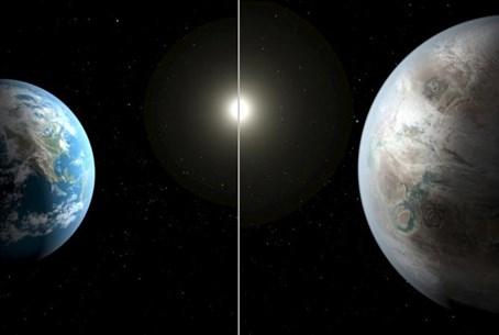 Earth / Kepler 452b (artist's rendition)
