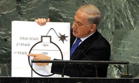 "Netanyahu presents his ""nuclear bomb"" graphic at the UN in 2012"