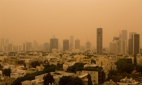 Tel Aviv skyline during dust storm