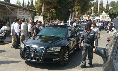 President Rivlin's car leaving the funeral
